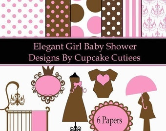 Baby Shower Girl Elegant Clipart Commercial use Instant Download