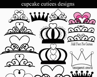 Crown Chic  Digital Clipart Elements Commercial Use Instant Download