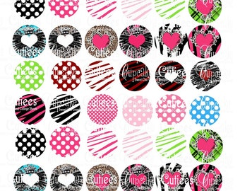 Fun N Flirty Background   Digital Collage Sheet 1 inch Circles for Bottle cap pendants and Pebble magnets