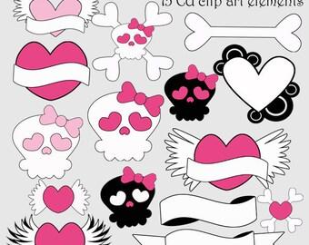 Punk Rock Baby Girl Clip Art Digital CU Instant Download