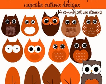 Fall Owls N Trees TWO  Element Clip art Digital Embellishments Commercial InStanT DoWnLoAd