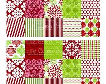 Christmas Party Backgrounds  Digital Collage Sheet 1.5 Square Designs 1.5 X 1.5 Square