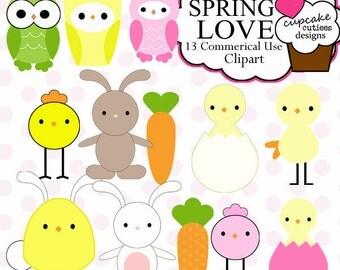 Spring Love Animals  Element Clip art Digital  Commercial use Instant Download