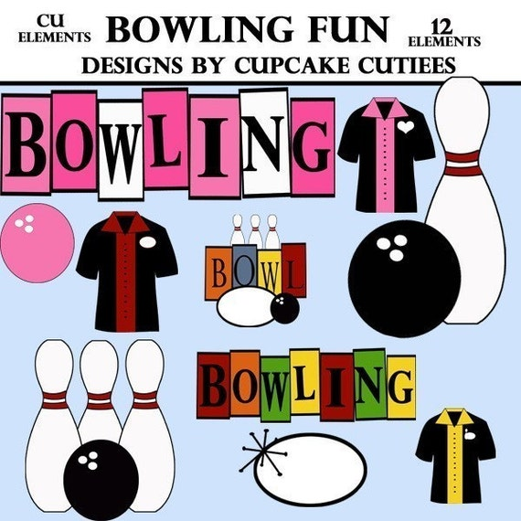 Bowling Fun Clip Art Collection Digital Clipart for Cards