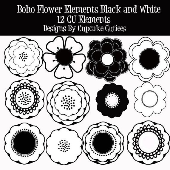 Boho Flowers  Digital Clipart Black and White Commercial Use- Instant DownLoAd