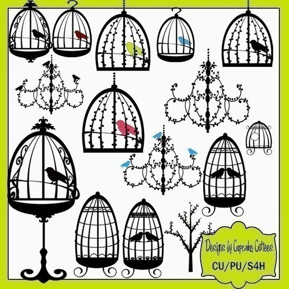 Birds in a Cage Elegant Digital Clip art collection 15 Elements