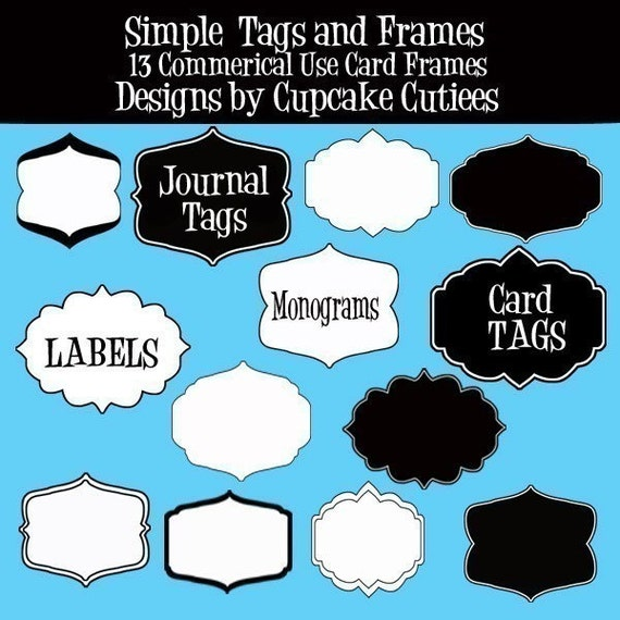 Simple Tags and Circles  Digital Clipart  Elements Commercial use Instant Download