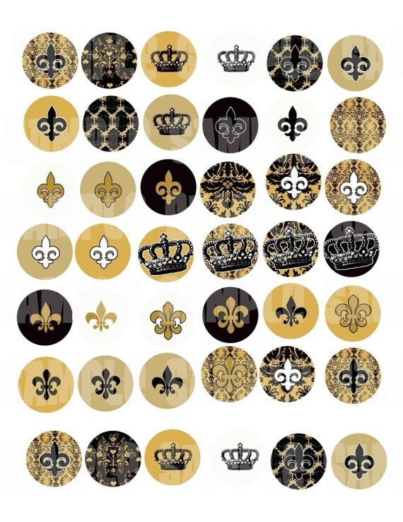 Black Gold  1 inch Circle Digital Collage Sheet 1 inch Circles for Bottlecaps , Pebble magnets or stickers.