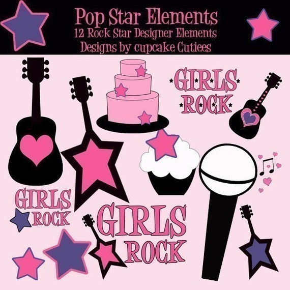 PopStar RockStar  Digital Clipart Elements and Digital Paper Commercial Instant Download