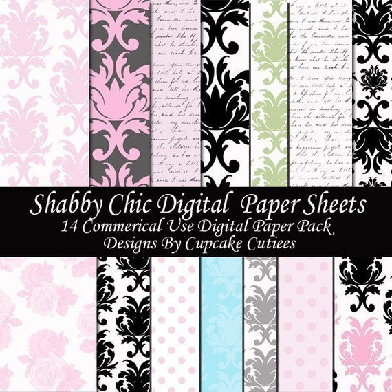 Shabby Chic  Damask Digital Collage Sheets 8.5 by 11 Sheets Set of 14 Digital Papers Instant Download