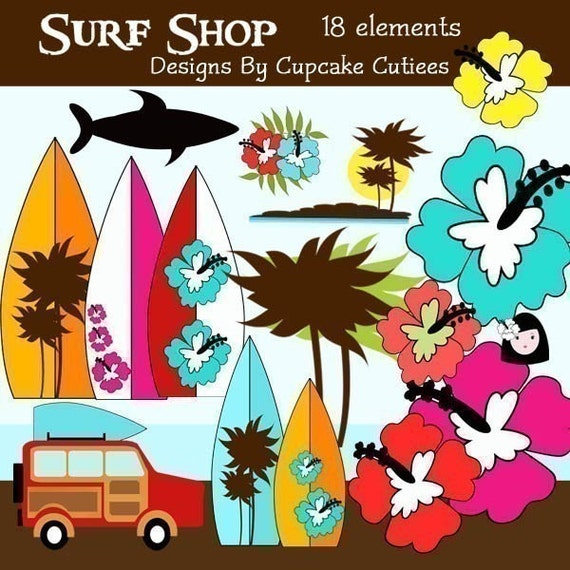 Surf Shop Element Clip art Digital Embellishments Commercial use for Cards, Stationary and Paper Products INstAnT DoWnLoAd