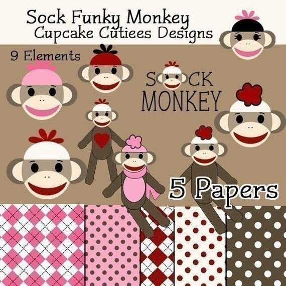 Sock Monkey  Digital Clipart Elements and Papers Commercial use for paper, invites, INSTANT DOWNLOAD