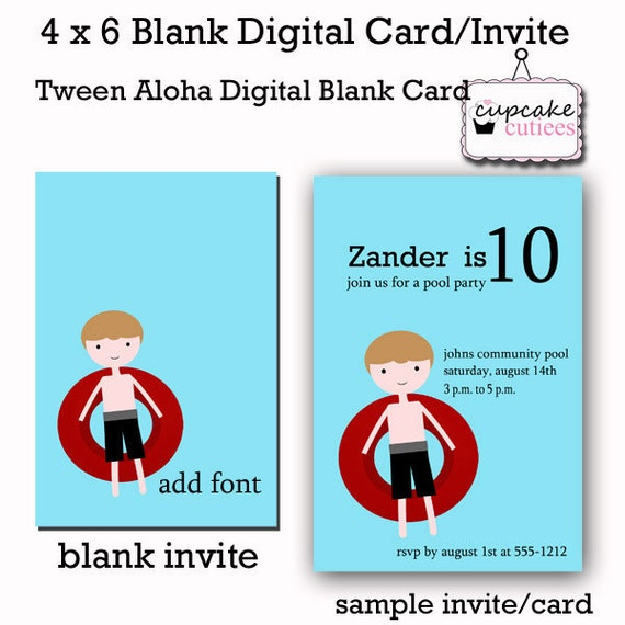 6 Birthday Card Templates: Items Similar To Boys Pool Party Digital Card Templates