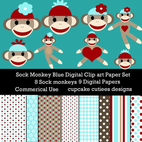 Sock Monkey BLUE  Digital Clipart Elements and Papers Commercial use for paper, invites InsTaNt DoWnLoAd