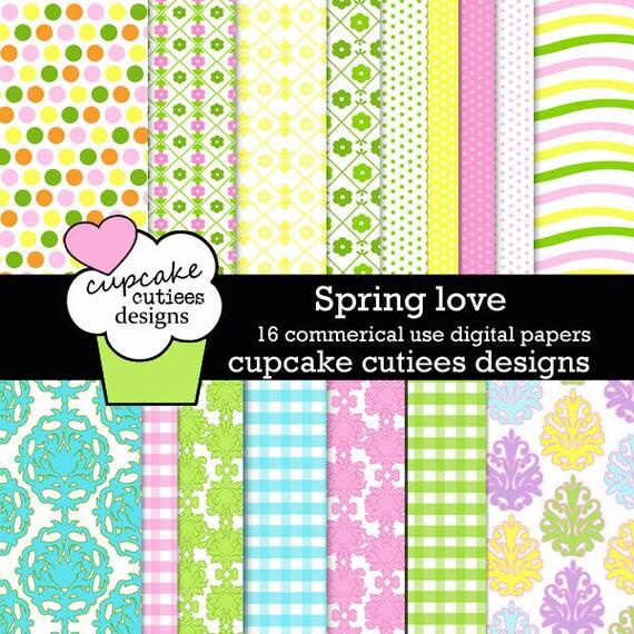 Spring Love Easter   Digital Paper 8.5 by 11 Sheets Set of 14  Digital Papers Instant Download