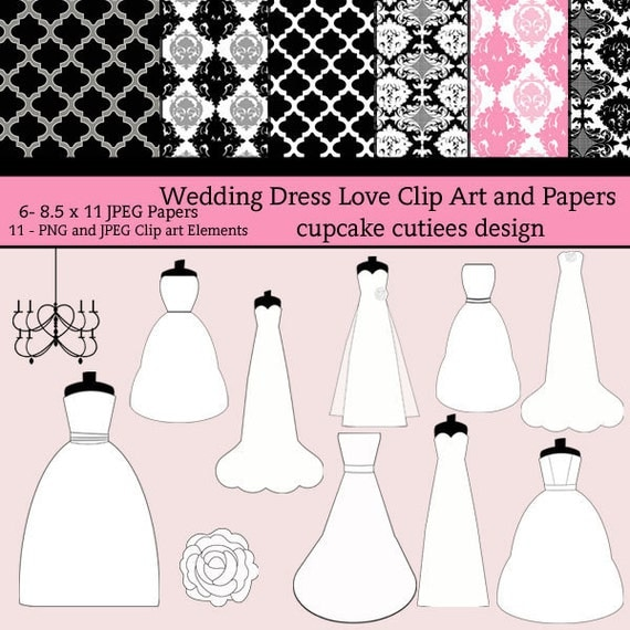 Wedding Dress Love  Digital Clipart Elements and Papers Commercial Instant Download