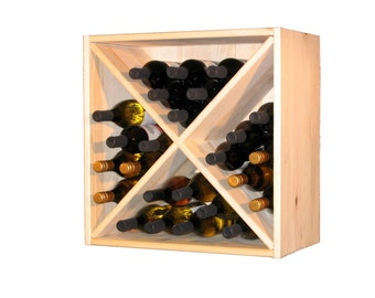 Deluxe Wine Storage Cubes--Set of 2--Solid Pine Tongue and Groove Back Planks