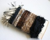 Elegant brown gold and black specialty yarn fiber embellishment bundle