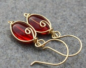 SALE-Ruby Red, Beaded, Gold Earrings, Bridal Jewelry, lovely Gift, Handmade