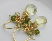 SALE- Earrings, Yellow Citrine Glass,Yellow,Green Swarovski Crystals,Mothers Day Gifts, Lovely Gifts, Handmade