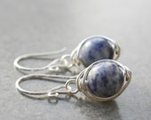 SALE- Blue Denim Lapis Earrings, Gemstones,Wire Wrapped, Sterling Silver Earrings, Handmade, Mothers Day Gifts, Lovely Gifts, Under 50
