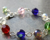 Bracelet,  Multi Color, Silver, Wire Wrapped, Handmade, Lovely Gift, Everyday Jewelry
