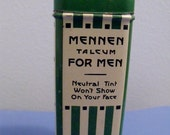 Mennen Talcum for Men - Vintage art deco metal container - Very good condition and still full