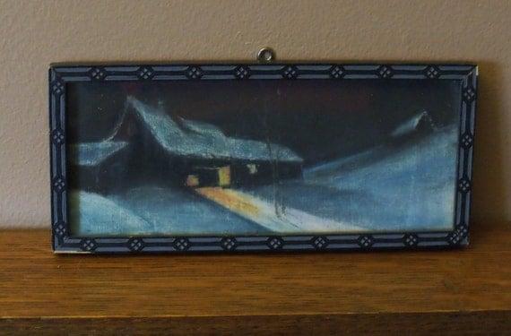 Barn on a snowy winter night - est. 1920s vintage - Art deco frame