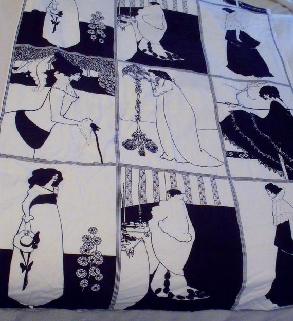 RESERVED FOR PEGGY - Vintage Aubrey Beardsley fabric panels -  15 in total - 1960s - Very rare