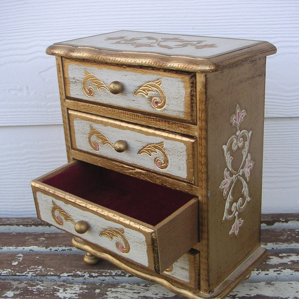 gilded jewelry box chest of drawers vintage music box. Black Bedroom Furniture Sets. Home Design Ideas