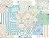 Custom Crib Baby Bedding Set - Taza in Blue and Taupe