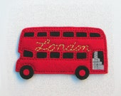 London Double Decker Bus Red Felt Fridge Magnet