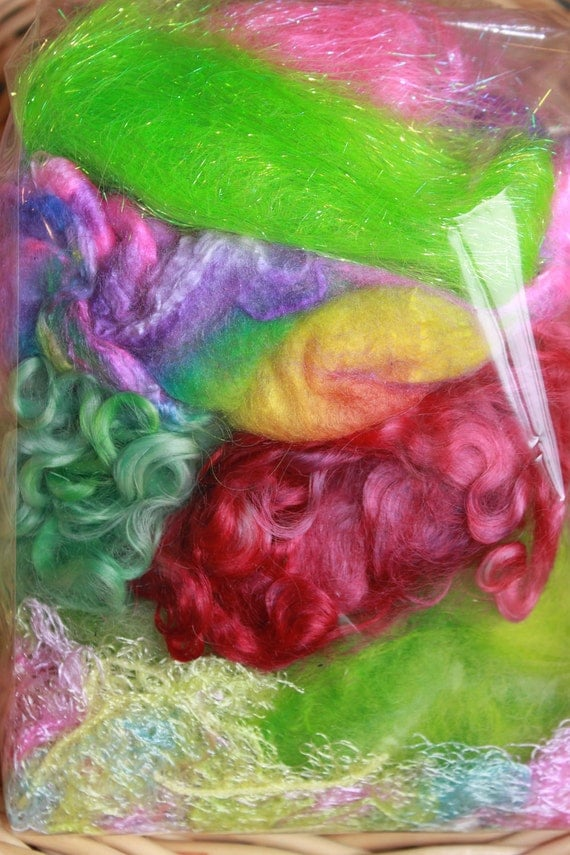 Build A Batt - wool locks - wool batt supply - build your own batt - wool sampler - hand dyed fiber - 2.5 oz