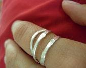 Organic beaten silver ring handmade artisan jewelry eco friendly