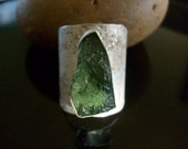 Green Moldavite Organically textured eco sterling silver adjustable ring artisan one of a kind