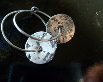 Modern sterling silver earrings organic disc dangle hoop  artisan jewelry Eco friendly sustainable recycled silver