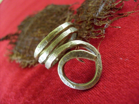 Golden rustic adjustable brass ring...eco friendly jewelry
