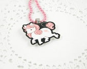pink haired unicorn necklace
