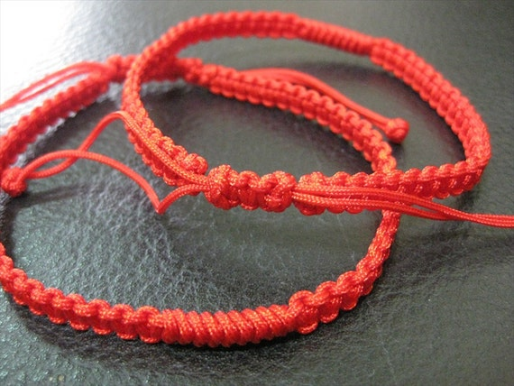 RESERVED- Adjustable Chinese Knot Anklets (Red) - Pair