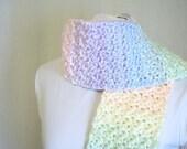 Pastel Fairy Kei Crochet Scarf - Fringed Handmade Pastel Rainbow Scarf