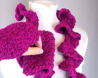 Handmade Ruffle Scarf - Crochet Twisted Scarf and Fingerless Mitts Set - Raspberry Wine for an Adult Female
