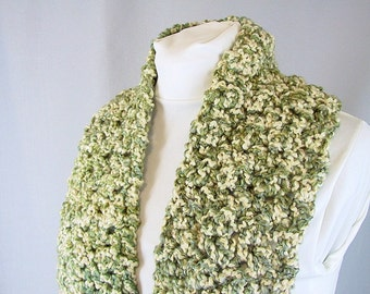 Chunky Crochet Scarf - Green and Cream Irish Tweed Scarf - Handmade Thick Knit for Him or Her