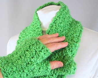 Acid Green Scarf  and Mitts Set for Him or Her