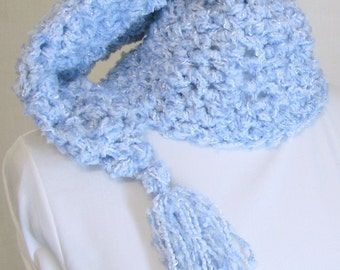 Chunky Crochet Stocking Hat - Handmade Fairy Kei Pastel Baby Blue Hat, Adult Female