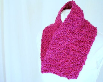 Hot Pink Circle Scarf - Handmade Crochet Infinity Cowl - Raspberry Moebius Twist Scarf for Adult Female