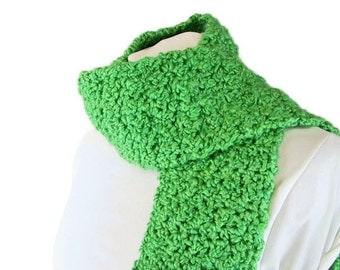 Acid Green Fringed Scarf Handmade for Him or Her