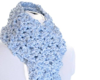 Crochet Handmade Chunky Sky Blue Scarf - Baby Blue Fairy Kei Shimmer for Adult Female