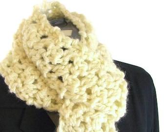 Creamy Crocheted Skinny Scarf - Handmade Beige Etsy Scarf