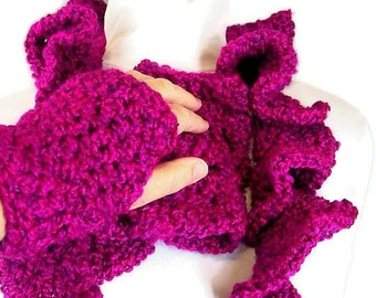 Ruffled Crochet Scarf and Wrist Warmers - Raspberry Wine