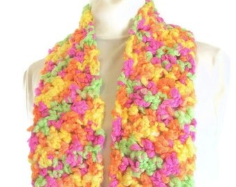 Handmade Crochet Neon Spring Multicolor Scarf - Bright Citrus, Tropical Rainbow Muffler